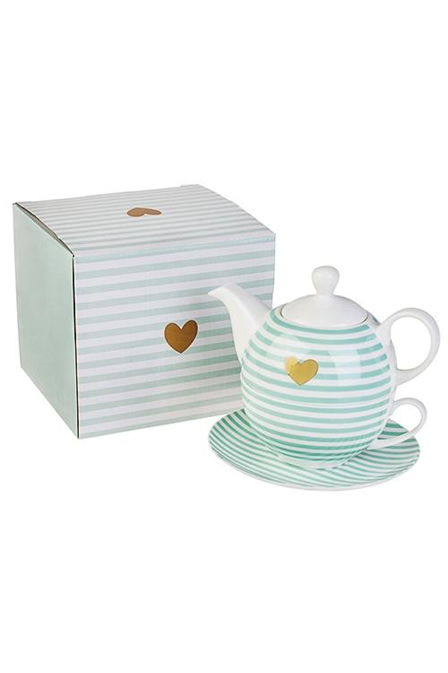 Набор чайный Золотое сердцеЧайные наборы<br>3-предм., 1 перс., керам. (чайник 400мл, кружка 250мл, блюдце)<br>