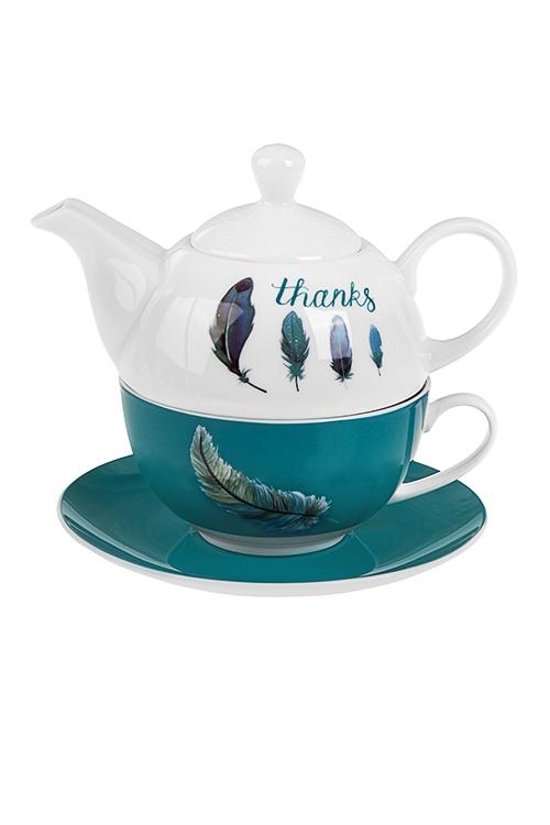 Набор чайный Счастливые перышкиЧайные наборы<br>1 перс., керам. (чайник 400мл, кружка 250мл, блюдце)<br>