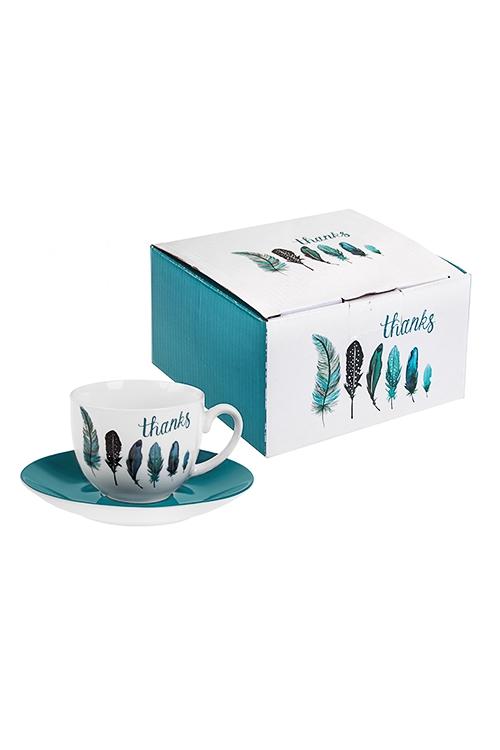 Чайная пара Счастливые перышкиПосуда<br>Керам., бело-бирюз. (чашка 220мл)<br>