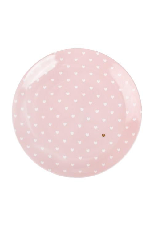 Тарелка СердечкиПодарки на 14 февраля<br>Д=20см, керам., розово-бело-золот.<br>