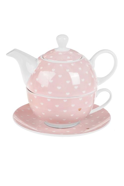 Набор чайный СердечкиЧайные наборы<br>1 перс., керам. (чайник 400мл, кружка 250мл, блюдце)<br>
