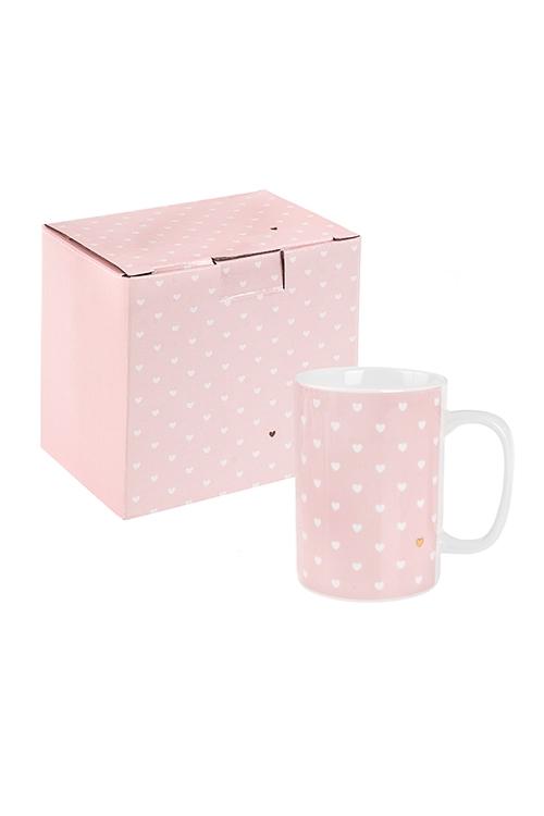 Кружка СердечкиКружки<br>350мл, керам., розово-бело-золот.<br>