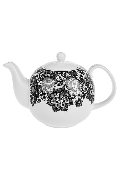 Чайник заварочный КружеваПосуда<br>1300мл, фарфор, черно-белый, в подар. упак.<br>