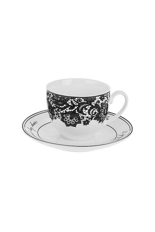 Набор для эспрессо КружеваПосуда<br>2-предм., 1 перс., фарфор, черно-белый (чашка 90мл)<br>