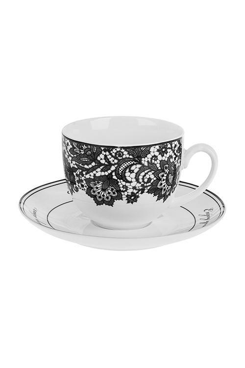 Чайная пара КружеваПосуда<br>Фарфор, черно-белая (чашка 220мл)<br>
