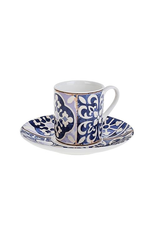 Набор для эспрессо АрабескаПосуда<br>2-предм., 1 перс., фарфор, сине-белый (чашка 90мл)<br>