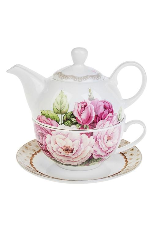 Набор чайный Изысканный букетПосуда<br>3-предм., 1 перс., фарфор (чайник 450мл, кружка 250мл, блюдце)<br>