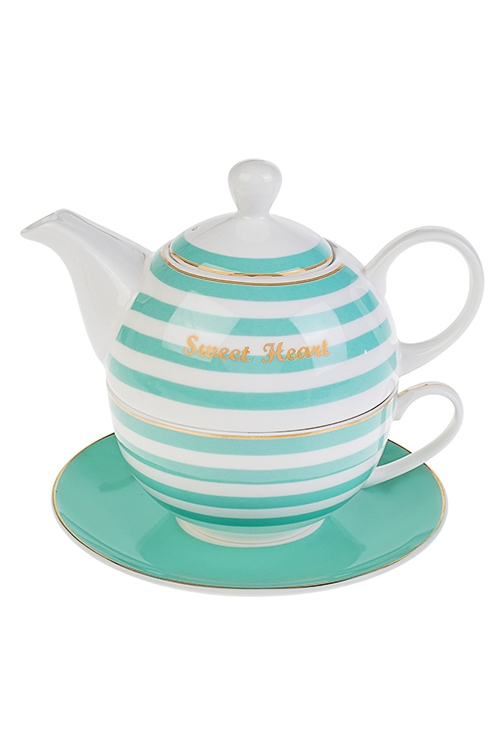 Набор чайный Sweet heartПосуда<br>3-предм., 1 перс., фарфор (чайник 450мл, кружка 250мл, блюдце)<br>