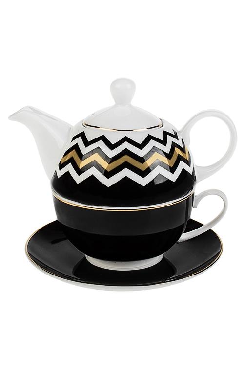 Набор чайный ЗигзагПосуда<br>3-предм., 1 перс., фарфор (чайник 450мл, кружка 250мл, блюдце)<br>
