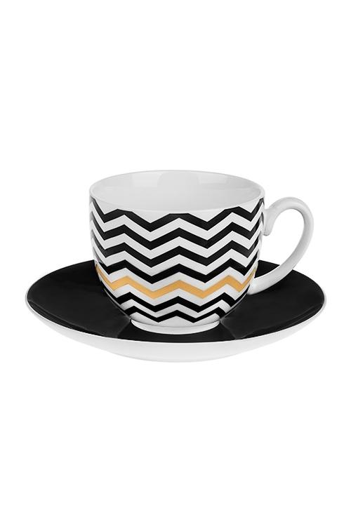 Чайная пара ЗигзагПосуда<br>Фарфор, черно-белая (чашка 220мл)<br>