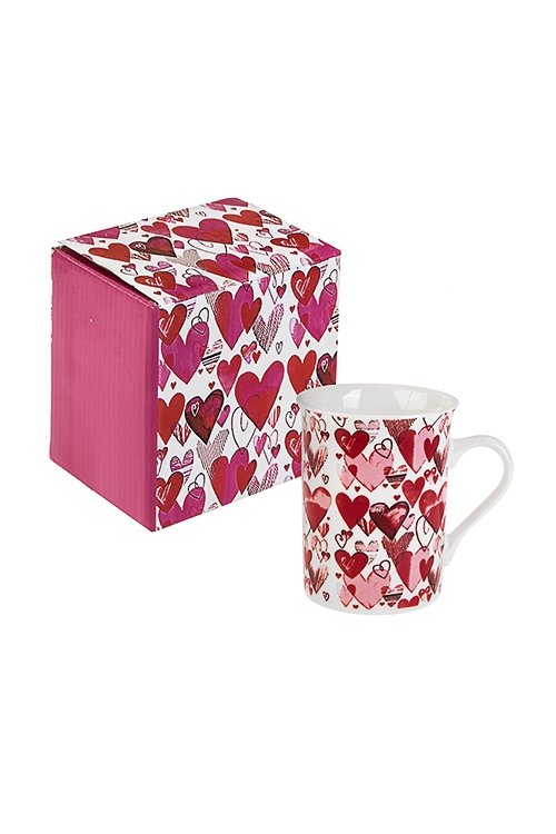 Кружка Сердечный миксКружки<br>280мл, керам., бело-красно-розовая<br>