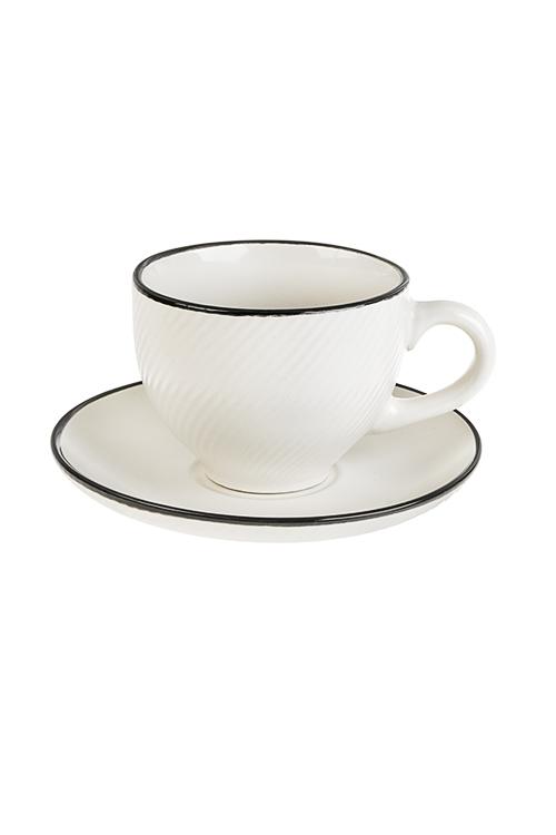 Чайная пара ФактураПосуда<br>Керам., кремовая (чашка 260мл)<br>
