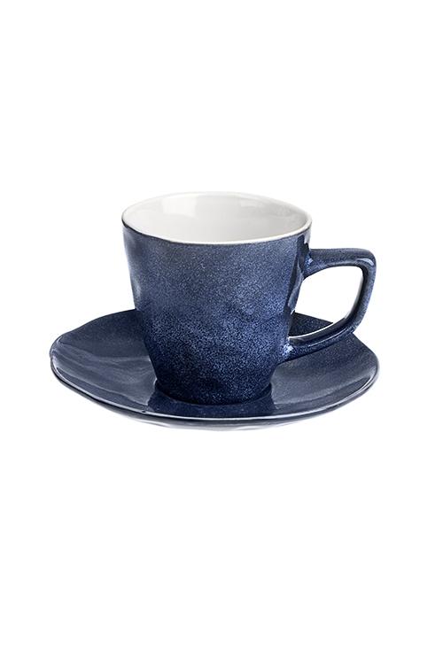 Чайная пара МраморПосуда<br>Керам., темно-синяя (чашка 200мл)<br>