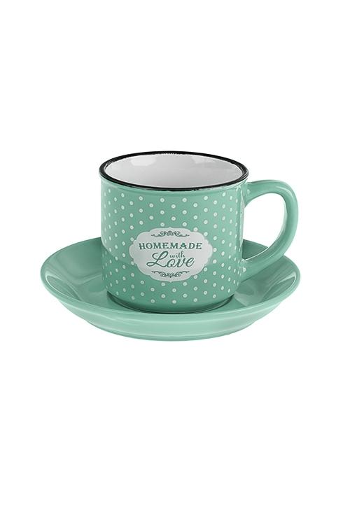 Чайная пара Приготовлено с любовьюПосуда<br>Керам., мятная (чашка 160мл)<br>