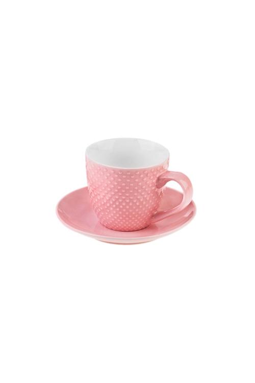 Чайная пара ТочкиПосуда<br>Керам., розовая (чашка 180мл)<br>