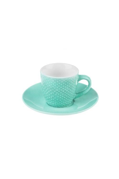 Набор для эспрессо ТочкиПодарки на день рождения<br>Керам., мятный (чашка 90мл)<br>