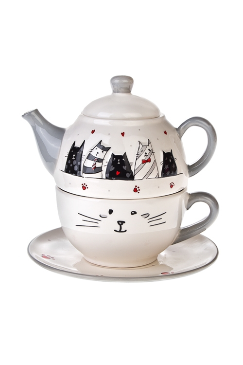 Набор чайный КотикиЧайные наборы<br>1 перс., доломит (чайник, кружка, тарелка)<br>