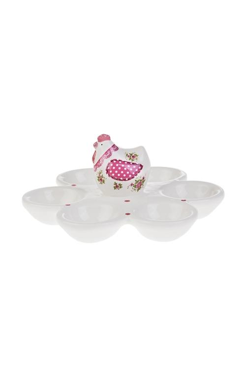 Блюдо для 6-ти яиц Расписная курочкаПосуда<br>Д=17см, керам., бело-розовое<br>