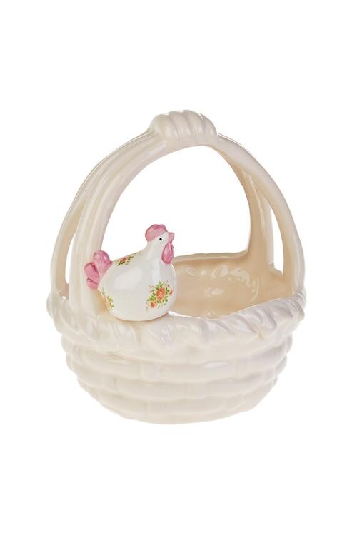Корзинка для яиц декоративная Расписная курочкаПосуда<br>4*18см, керам., бело-розовая<br>