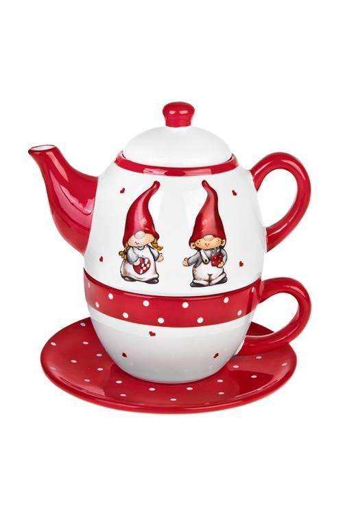 Набор чайный ГномикиПосуда<br>1 перс., керам. (чайник, кружка, тарелка)(2 вида)<br>