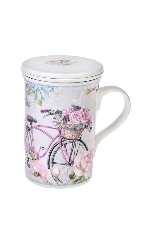 Кружка завар. с крышкой Летняя прогулкаКружки с крышками и банки Mason Jar с ручкой<br>250мл, керам., в подарочной упаковке<br>