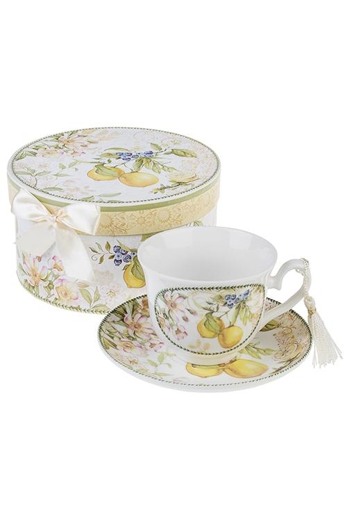 Чайная пара Солнечный лимонПосуда<br>Керам. (чашка 200мл), в подарочной упаковке<br>