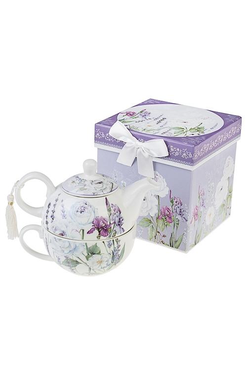 Набор чайный Аромат лавандыЧайные наборы<br>2-предм, 1 перс., керам. (чайник 250мл, чашка 250мл), в подар. упак.<br>