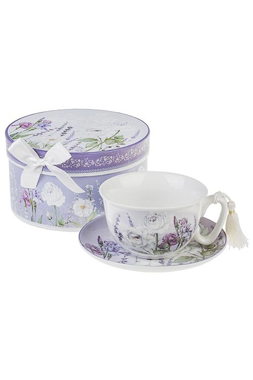Чайная пара Аромат лавандыПосуда<br>Керам. (чашка 200мл), в подарочной упаковке<br>