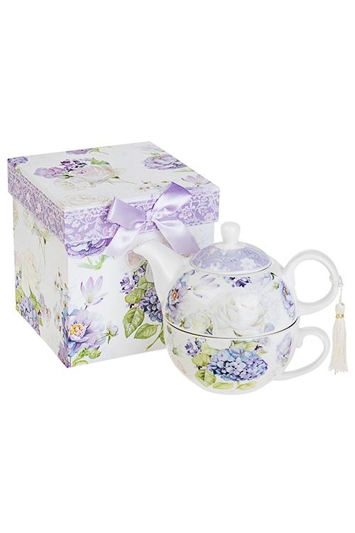 Набор чайный Сиреневый райПосуда<br>2-предм, 1 перс., керам.(чайник 450мл, чашка 250мл), в подар. упак.<br>