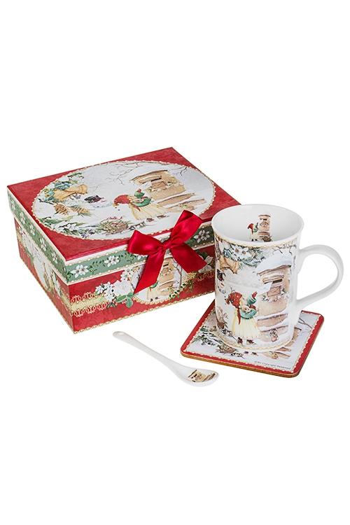 Набор чайный Праздничная почтаПосуда<br>3-предм., 1 перс., керам., ПВХ (кружка 300мл, подставка, ложка)<br>