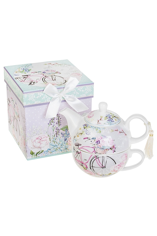 Набор чайный Летняя прогулкаЧайные наборы<br>2-предм, 1 перс., керам. (чайник 450мл, чашка 250мл), в подар. упак.<br>