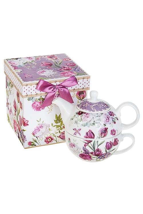 Набор чайный Прекрасный садЧайные наборы<br>2-предм, 1 перс., керам. (чайник 450мл, чашка 250мл), в подар. упак.<br>