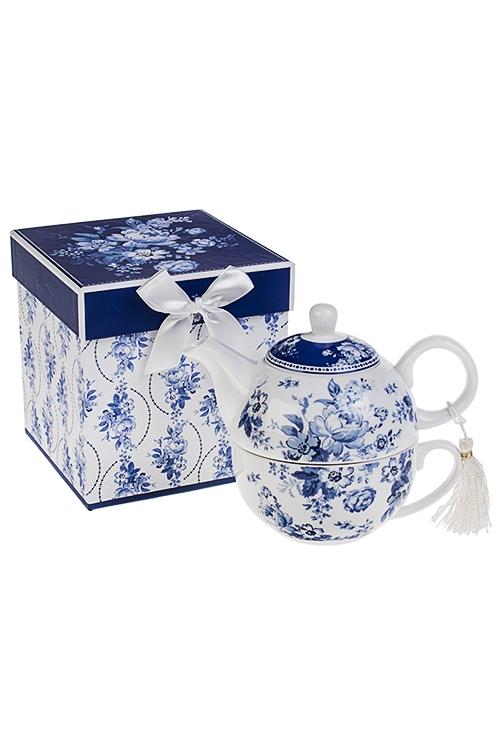 Набор чайный Волшебные цветыПосуда<br>2-предм, 1 перс., керам. (чайник 470мл, чашка 290мл), в подар. упак.<br>