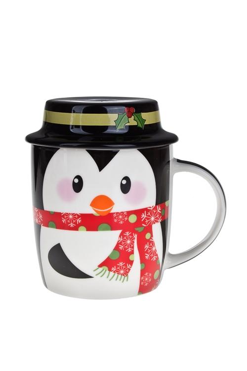 Кружка новогодняя с крышкой Мистер ПингвинПосуда<br>390мл, фарфор, в подар. упак<br>