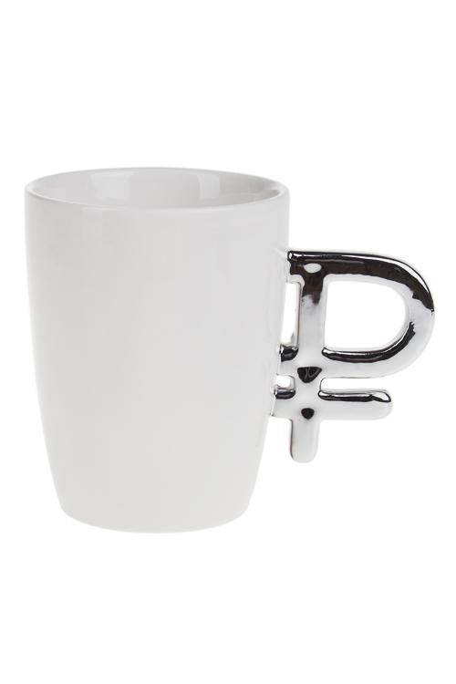 Кружка РубльКружки и бокалы<br>250мл, доломит. керам., бело-серебр.<br>