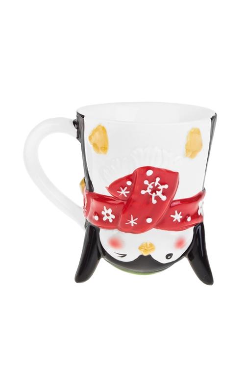 Кружка новогодняя Счастливый пингвинПосуда<br>200мл, с двойной стенкой, керам., красно-бело-черная<br>