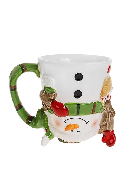 Кружка новогодняя Забавный снеговик фирменная новогодняя кружка