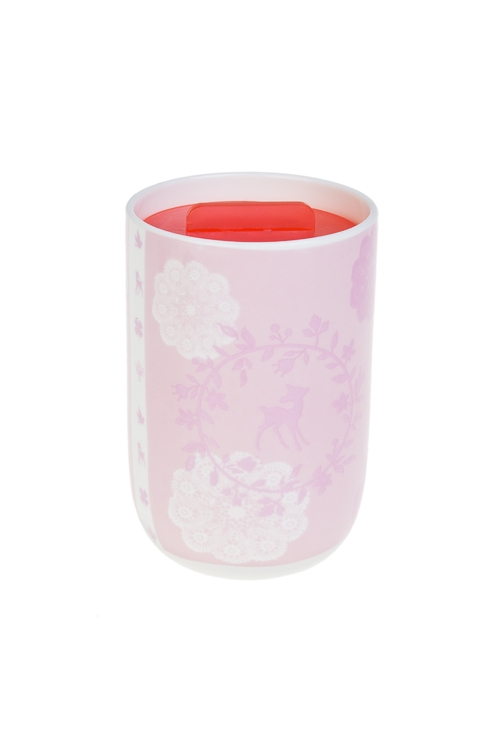 Кружка с крышкой ВеснаПосуда<br>300мл, керам., пластм., розовая<br>