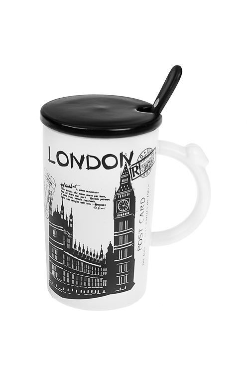 Кружка с крышкой и ложкой ЛондонКружки с крышками и банки Mason Jar с ручкой<br>310мл, керам.<br>