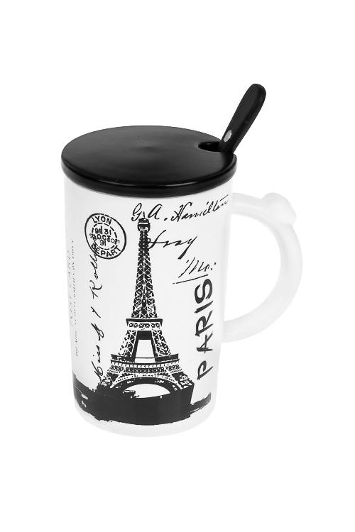 Кружка с крышкой и ложкой ПарижПосуда<br>310мл, керам.<br>