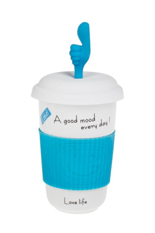 Стакан для чая/кофе ОкейКружки с крышками и банки Mason Jar с ручкой<br>400мл, керам., голубой (с крышкой, с силикон. держателем)<br>