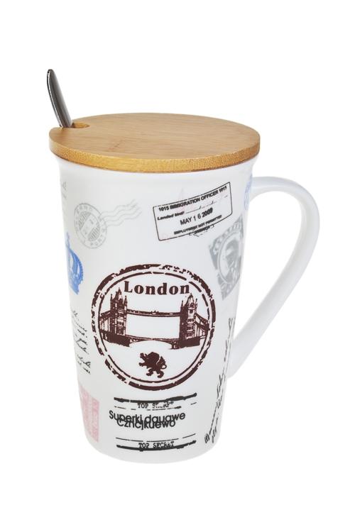 Набор чайный ЛондонЧайные наборы<br>1 перс., керам., нерж. сталь, дерево (кружка с крышкой 500мл, ложка<br>