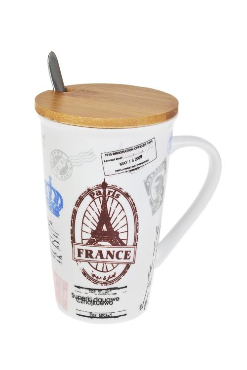 Набор чайный ПарижЧайные наборы<br>1 перс., керам., нерж. сталь, дерево (кружка с крышкой 500мл, ложка)<br>