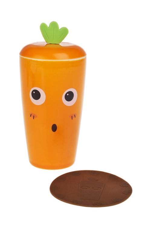 Набор чайный МорковкаЧайные наборы<br>3-предм., 1 перс., керам., силикон (кружка с крышкой 350мл, подст.)<br>