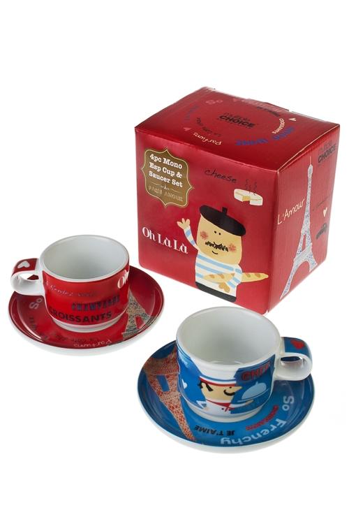 Набор для эспрессо Шеф-поварСтоловые наборы<br>2 перс., фарфор, (тарелки, чашки 100мл) в подар. упак.<br>