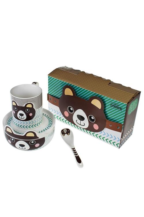 Набор для завтрака Бурый мишкаПосуда<br>1 перс., фарфор (тарелки, ложка, кружка 350мл)<br>