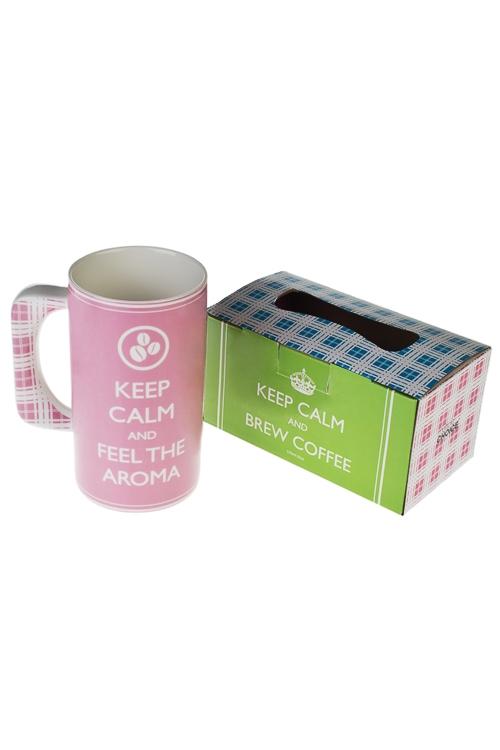 Кружка ОтдыхКружки и бокалы<br>600мл, фарфор, розовая, в подар. упак.<br>