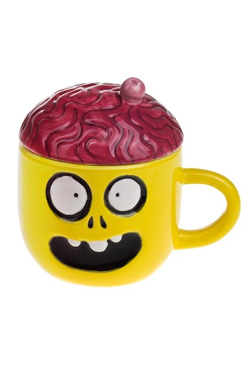 Кружка с крышкой Вишенка на мозгеКружки с крышками<br>300мл, доломит. керамика, желто-малин.<br>