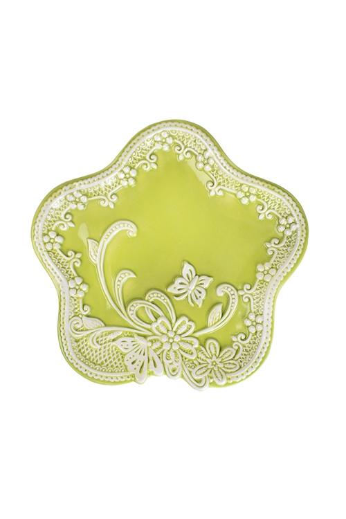 Блюдо Узорный цветочекТарелки и пиалы<br>21*20см, керам., зеленое<br>