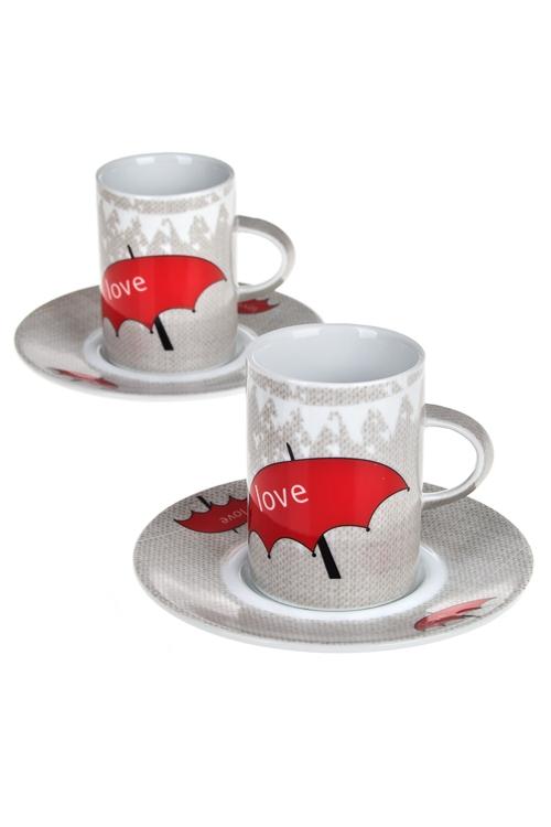 Набор для эспрессо ЗонтикПосуда<br>4-предм., 2 перс, фарфор (чашки 200мл), в подар. упак.<br>